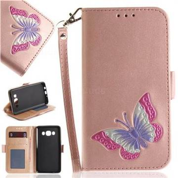 Imprint Embossing Butterfly Leather Wallet Case for Samsung Galaxy J5 2016 J510 - Rose Gold