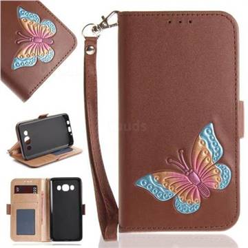 Imprint Embossing Butterfly Leather Wallet Case for Samsung Galaxy J5 2016 J510 - Brown