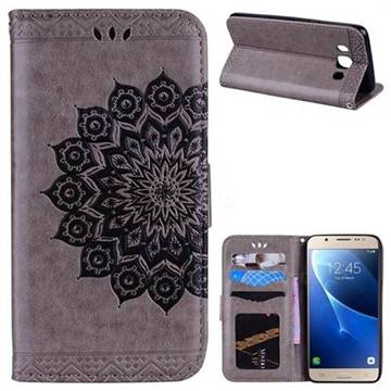Datura Flowers Flash Powder Leather Wallet Holster Case for Samsung Galaxy J5 2016 J510 - Gray
