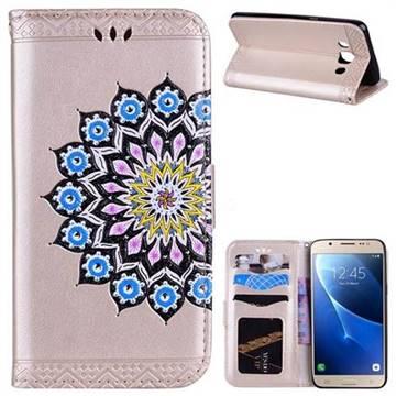Datura Flowers Flash Powder Leather Wallet Holster Case for Samsung Galaxy J5 2016 J510 - Golden