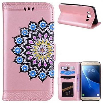 Datura Flowers Flash Powder Leather Wallet Holster Case for Samsung Galaxy J5 2016 J510 - Pink