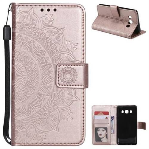 Intricate Embossing Datura Leather Wallet Case for Samsung Galaxy J5 2016 J510 - Rose Gold