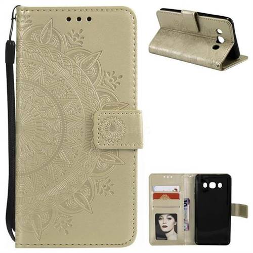 Intricate Embossing Datura Leather Wallet Case for Samsung Galaxy J5 2016 J510 - Golden