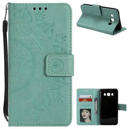 Intricate Embossing Datura Leather Wallet Case for Samsung Galaxy J5 2016 J510 - Mint Green
