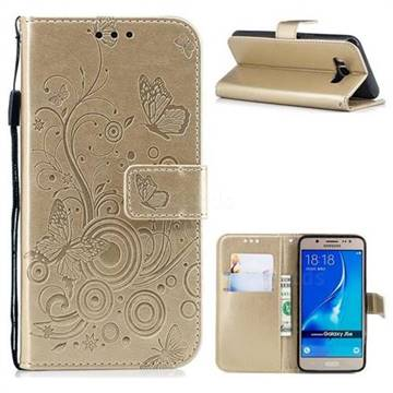 Intricate Embossing Butterfly Circle Leather Wallet Case for Samsung Galaxy J5 2016 J510 - Champagne