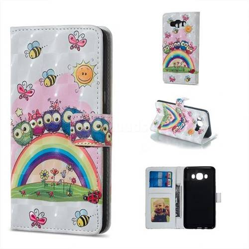 Rainbow Owl Family 3D Painted Leather Phone Wallet Case for Samsung Galaxy J5 2016 J510