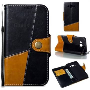 Retro Magnetic Stitching Wallet Flip Cover for Samsung Galaxy J5 2016 J510 - Black