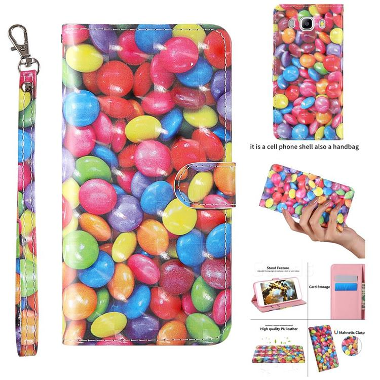 Colorful Jelly Beans 3D Painted Leather Wallet Case for Samsung Galaxy J5 2016 J510