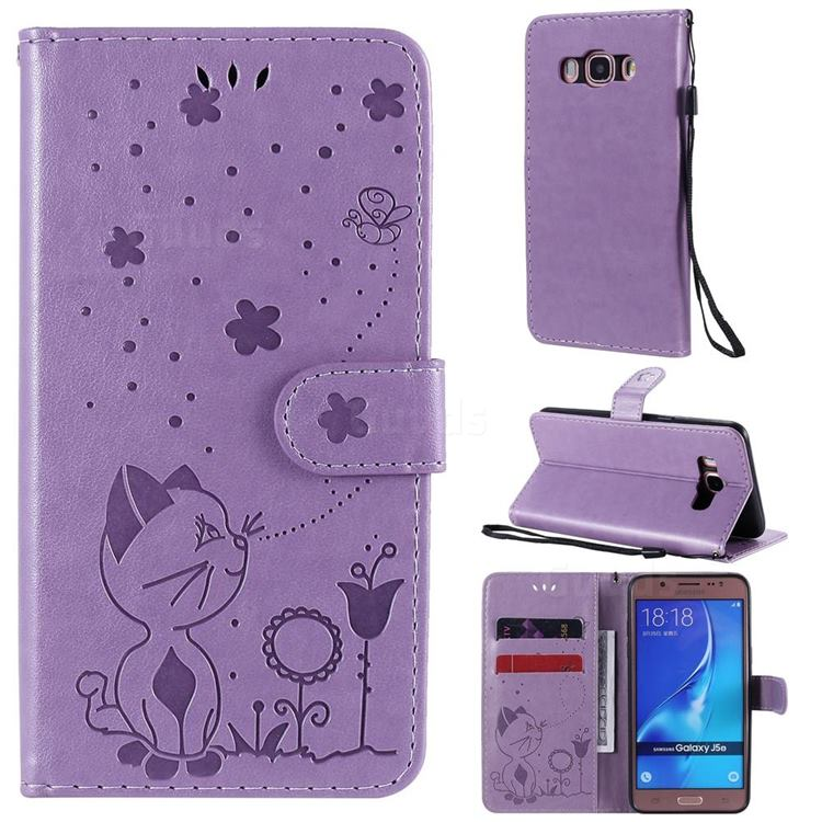 Embossing Bee and Cat Leather Wallet Case for Samsung Galaxy J5 2016 J510 - Purple