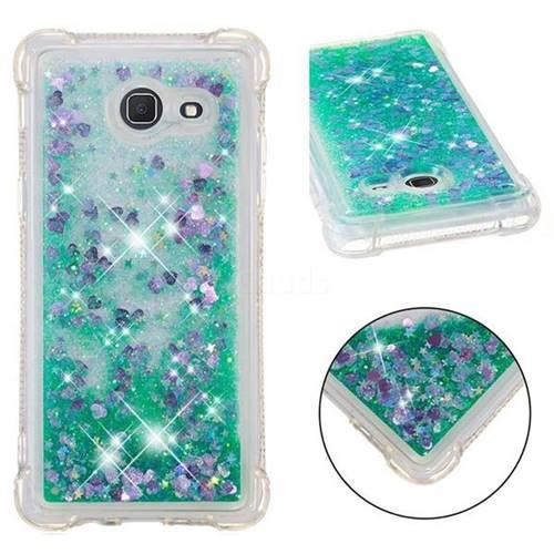 Dynamic Liquid Glitter Sand Quicksand TPU Case for Samsung Galaxy J5 2017 US Edition - Green Love Heart