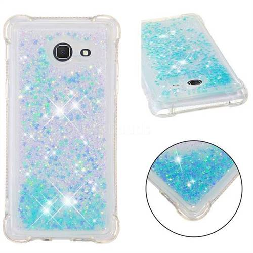 Dynamic Liquid Glitter Sand Quicksand TPU Case for Samsung Galaxy J5 2017 US Edition - Silver Blue Star