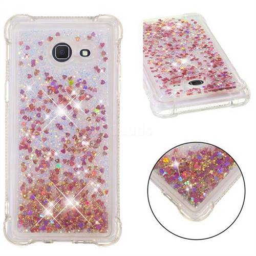 Dynamic Liquid Glitter Sand Quicksand TPU Case for Samsung Galaxy J5 2017 US Edition - Rose Gold Love Heart
