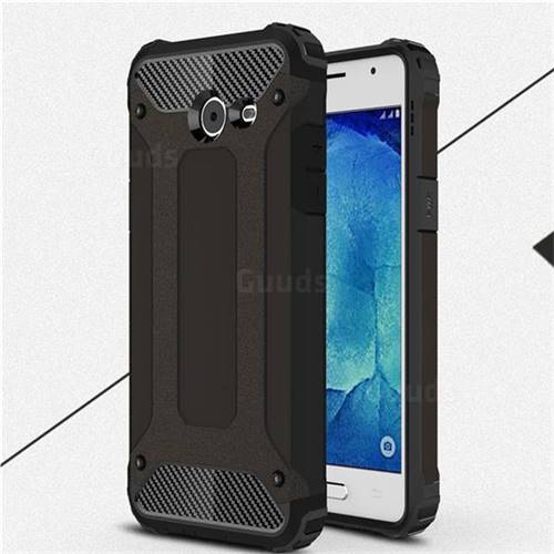 King Kong Armor Premium Shockproof Dual Layer Rugged Hard Cover for Samsung Galaxy J5 2017 US Edition - Black Gold