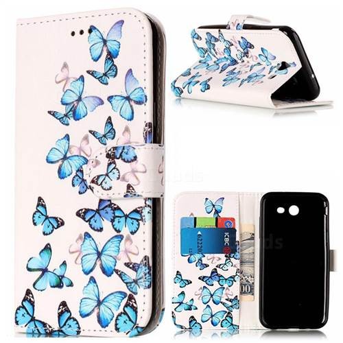 Blue Vivid Butterflies PU Leather Wallet Case for Samsung Galaxy J5 2017 J5 US Edition
