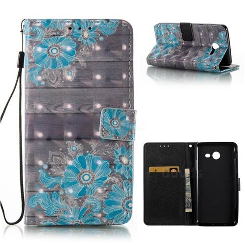 Blue Flower 3D Painted Leather Wallet Case for Samsung Galaxy J5 2017 J5 US Edition