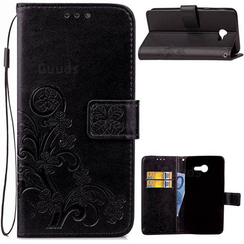 Embossing Imprint Four-Leaf Clover Leather Wallet Case for Samsung Galaxy J5 2017 J5 US Edition - Black