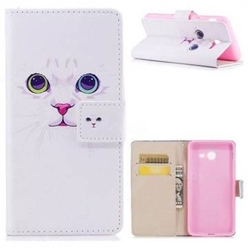 White Cat PU Leather Wallet Case for Samsung Galaxy J5 2017 US Edition