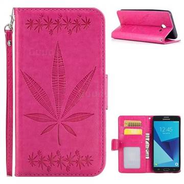 Intricate Embossing Maple Leather Wallet Case for Samsung Galaxy J5 2017 US Edition - Rose