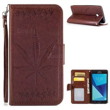 Intricate Embossing Maple Leather Wallet Case for Samsung Galaxy J5 2017 US Edition - Brown