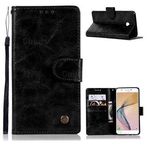 Luxury Retro Leather Wallet Case for Samsung Galaxy J5 2017 US Edition - Black