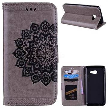Datura Flowers Flash Powder Leather Wallet Holster Case for Samsung Galaxy J5 2017 US Edition - Gray