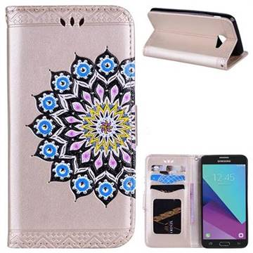 Datura Flowers Flash Powder Leather Wallet Holster Case for Samsung Galaxy J5 2017 US Edition - Golden