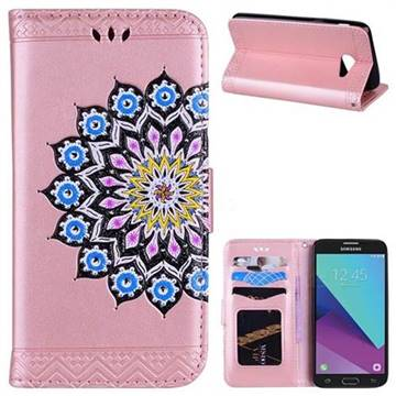 Datura Flowers Flash Powder Leather Wallet Holster Case for Samsung Galaxy J5 2017 US Edition - Pink