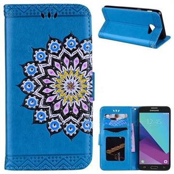 Datura Flowers Flash Powder Leather Wallet Holster Case for Samsung Galaxy J5 2017 US Edition - Blue