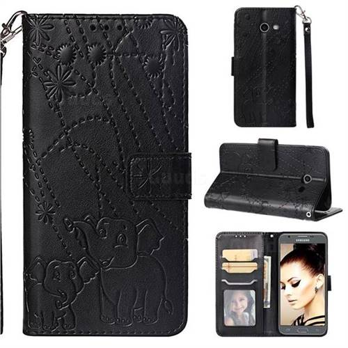 Embossing Fireworks Elephant Leather Wallet Case for Samsung Galaxy J5 2017 US Edition - Black