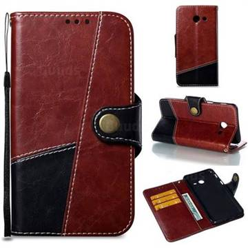 Retro Magnetic Stitching Wallet Flip Cover for Samsung Galaxy J5 2017 US Edition - Dark Red