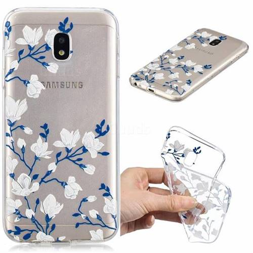 Magnolia Flower Clear Varnish Soft Phone Back Cover for Samsung Galaxy J5 2017 J530 Eurasian
