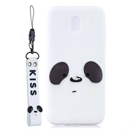 White Feather Panda Soft Kiss Candy Hand Strap Silicone Case for Samsung Galaxy J5 2017 J530 Eurasian