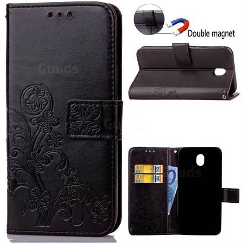 Embossing Imprint Four-Leaf Clover Leather Wallet Case for Samsung Galaxy J5 2017 J530 - Black