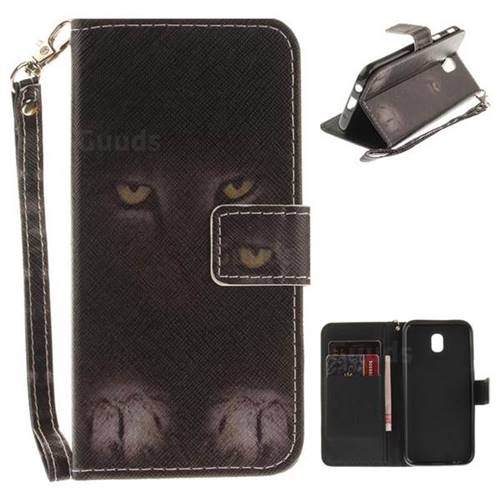 Mysterious Cat Hand Strap Leather Wallet Case for Samsung Galaxy J5 2017 J530 Eurasian