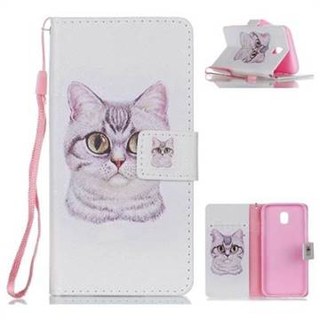 Lovely Cat Leather Wallet Phone Case for Samsung Galaxy J5 2017 J530 Eurasian
