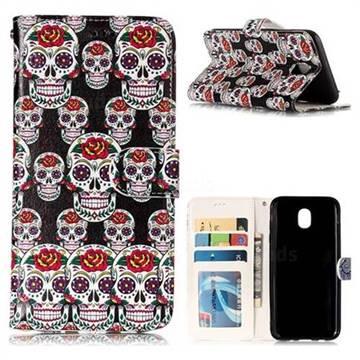 Flower Skull 3D Relief Oil PU Leather Wallet Case for Samsung Galaxy J5 2017 J530 Eurasian