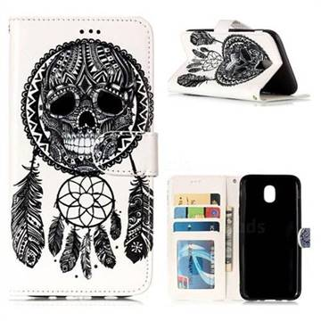 Wind Chimes Skull 3D Relief Oil PU Leather Wallet Case for Samsung Galaxy J5 2017 J530 Eurasian