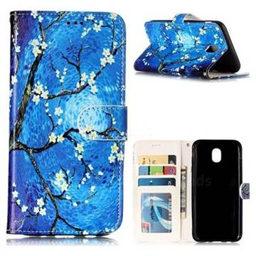 Plum Blossom 3D Relief Oil PU Leather Wallet Case for Samsung Galaxy J5 2017 J530 Eurasian
