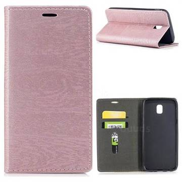 Tree Bark Pattern Automatic suction Leather Wallet Case for Samsung Galaxy J5 2017 J530 Eurasian - Rose Gold