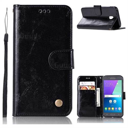 Luxury Retro Leather Wallet Case for Samsung Galaxy J5 2017 J530 Eurasian - Black
