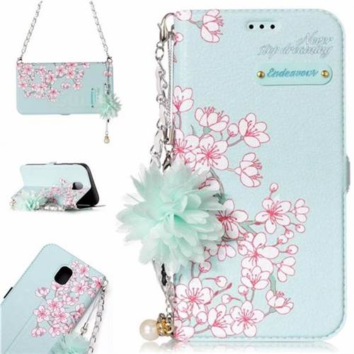 Cherry Blossoms Endeavour Florid Pearl Flower Pendant Metal Strap PU Leather Wallet Case for Samsung Galaxy J5 2017 J530 Eurasian