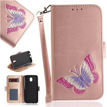 Imprint Embossing Butterfly Leather Wallet Case for Samsung Galaxy J5 2017 J530 Eurasian - Rose Gold