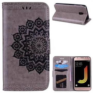 Datura Flowers Flash Powder Leather Wallet Holster Case for Samsung Galaxy J5 2017 J530 Eurasian - Gray