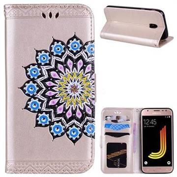 Datura Flowers Flash Powder Leather Wallet Holster Case for Samsung Galaxy J5 2017 J530 Eurasian - Golden