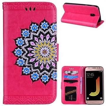 Datura Flowers Flash Powder Leather Wallet Holster Case for Samsung Galaxy J5 2017 J530 Eurasian - Rose