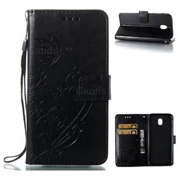 Embossing Butterfly Flower Leather Wallet Case for Samsung Galaxy J5 2017 J530 Eurasian - Black