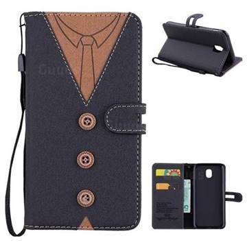 Mens Button Clothing Style Leather Wallet Phone Case for Samsung Galaxy J5 2017 J530 Eurasian - Black