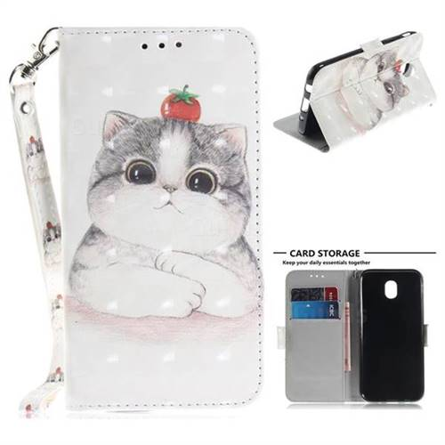 Cute Tomato Cat 3D Painted Leather Wallet Phone Case for Samsung Galaxy J5 2017 J530 Eurasian