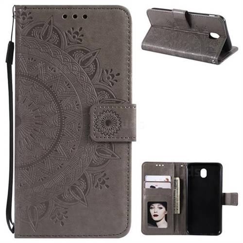 Intricate Embossing Datura Leather Wallet Case for Samsung Galaxy J5 2017 J530 Eurasian - Gray