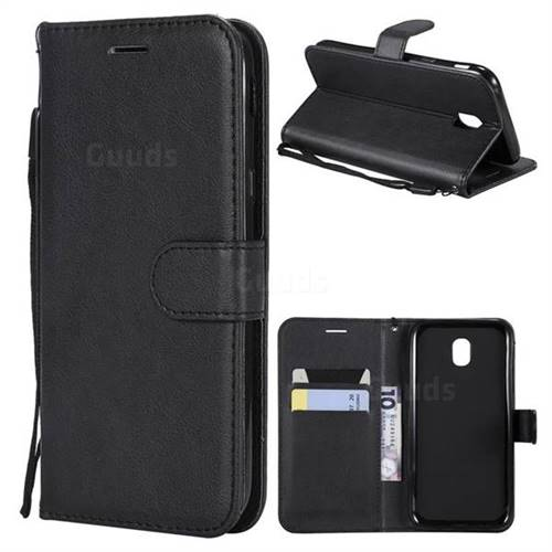 Retro Greek Classic Smooth PU Leather Wallet Phone Case for Samsung Galaxy J5 2017 J530 Eurasian - Black